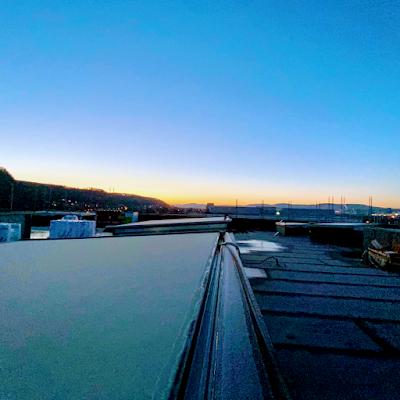Sonnenaufgang auf unserem Dach!