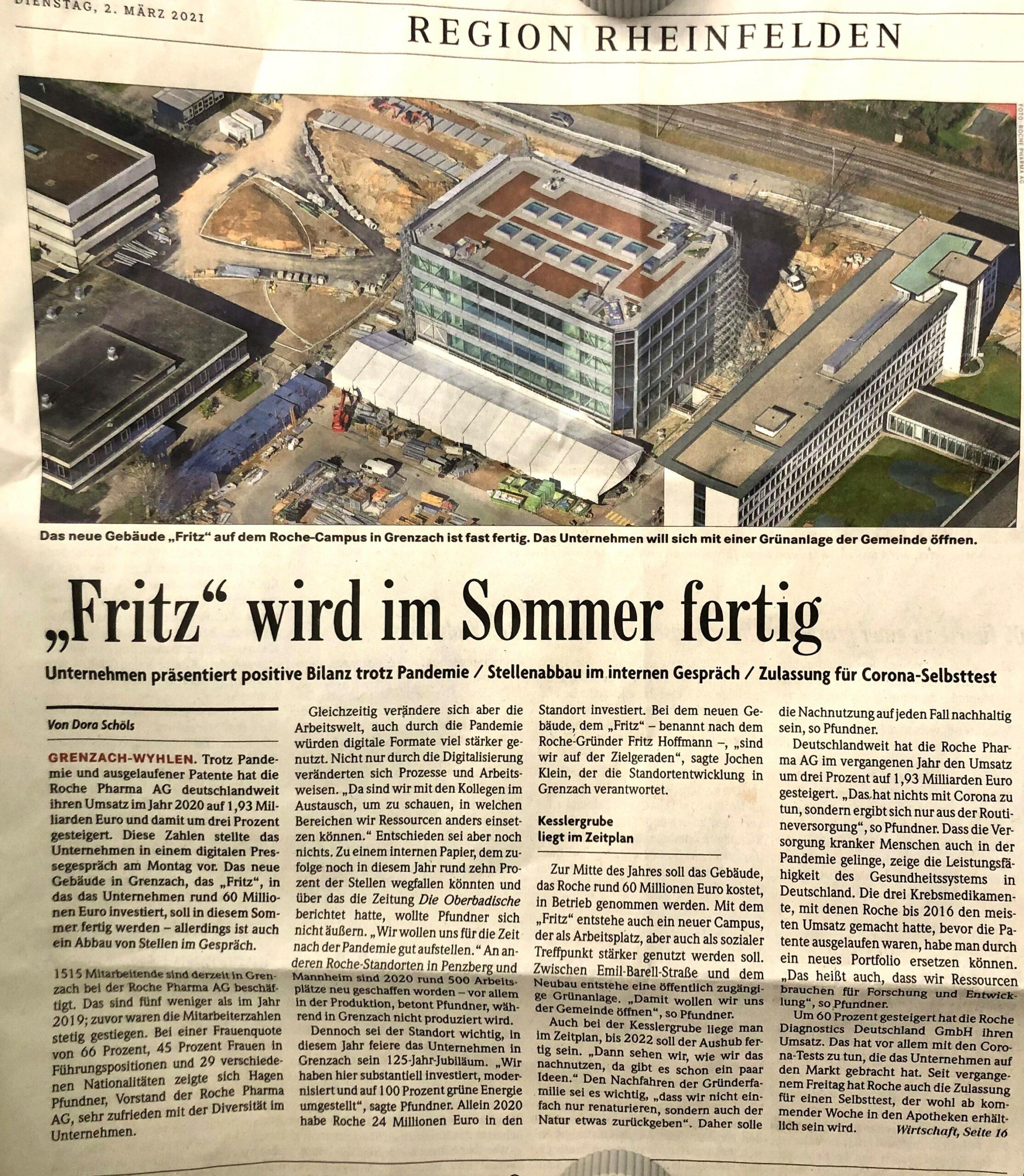 """Zeitungsbericht zum """"FRITZ"""""""